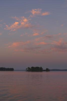 The western sky at sunrise